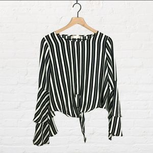 Altar'd State Black And White Striped Crop Blouse